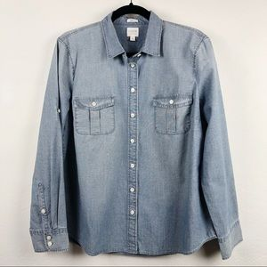 J. Crew Perfect Fit Chambray Shirt Large Petite